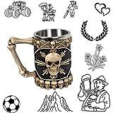 DUTUI Tasse À Bière Rétro, Verre À Eau Pirate Crâne Créatif, Tasse Pirate Viking, Tasse À Bière Créative en Acier Inoxydable, Mettant en Évidence La Personnalité, Cadeau Parfait, 2 Pièces