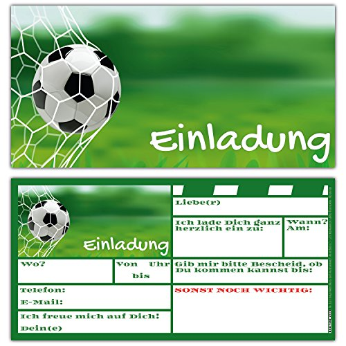 BREITENWERK 12-er Karten-Set Fussball EINLADUNGEN zum Kindergeburtstag oder Fußball-Party - Einladungskarten für Jungen Mädchen und Erwachsene