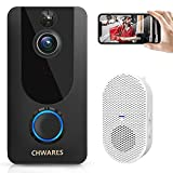CHWARES Video Doorbell Camera with Chime, 1080p HD, Wireless WiFi, Motion Detection, 2-Way Audio, Night Vision, IP65 Waterproof, Battery-Powered, Easy Installation, Free Cloud Storage, No Monthly Fee