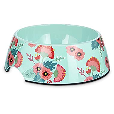 Bowlmates Pink and Teal Floral Single Dog Bowl Base, 3 Cups, Medium