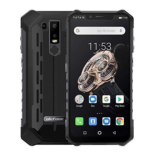 Teléfonos Inteligentes Armadura Resistente 6S teléfono, Dual 4G y Volte, Impermeable a Prueba de Polvo a Prueba de Golpes, y Face ID identificación de Huellas Dactilares, OTG/NFC (Color : Negro)