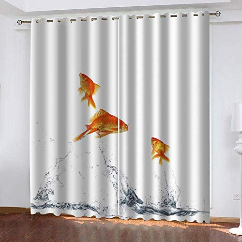 meilishop 3D Printing Blackout Curtains Goldfish Art Living Room Bedroom 3D Stereoscopic Flower Curtains Decorations Window Home Decoration 265(H) x200(W) Cmx2 Panels/set