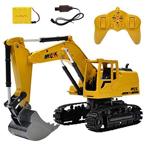 HKDJ-Excavadora RC,Full Funcional Profesional RC Excavadora, Batería De Control Remoto De Construcción, Tractor, Pala De Metal