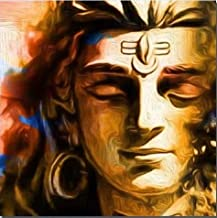 Lord Shiva HD Printed Canvas Wall Art Posters and Prints Poster Painting with Frame (30x30cm)