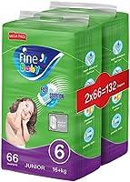 Fine Baby Diapers, DoubleLock Technology , Size 6, Junior 16kg +, Mega Pack. 132 diaper count