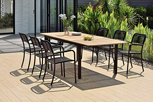 Amazonia Lombardia 7 Piece Extendable Dining Set | Teak Finish Table and Black Chairs| Durable and Ideal for Outdoors