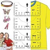 Guía de regla de camiseta de 8 piezas para vinilo, Regla de herramienta de alineación clara, Logotipo de la regla al centro para sublimación de prensado en caliente de bricolaje (transparente)