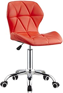 ZHJBD Furniture Stool Adjustable Office Desk Chairs Living Room Chairs Computer Swivel Chair High Stool Chair  Chair with Wheels Leather Red