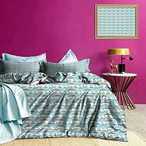 Copripiumino per letto a tre pezzi Set di biancheria da letto Icon Art per barca a vela Design minimalista e colore