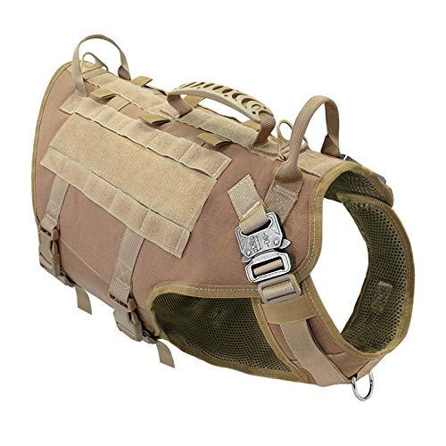 XNBZJ Arnés de nailon duradero para perro táctico militar K9 Chaleco de trabajo sin tirar, arnés de entrenamiento para mascotas, chaleco para perros medianos y grandes, M L (color, tamaño: 55 a 80 cm)