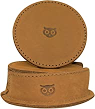 Durable Thick Leather Owl Coasters with Stitching (6-Pack) Handmade by Hide & Drink :: Old Tobacco
