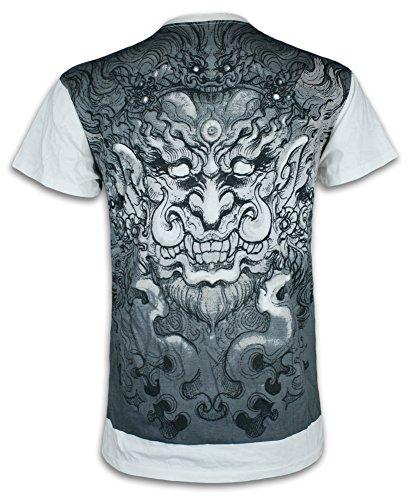 Ako Roshi T-Shirt da Uomo Acala - Dio del Fuoco Taglia M L XL Arti Marziali Giappone Tatuaggio Drago MMA (M, Grigio)