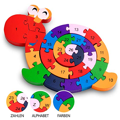 Lobome Schnecke Zahlenpuzzle Holzspielzeug | Zahlen und Buchstaben | Pädagogisches Spielzeug für klein-Kinder ab 3 Jahre mit Sicherung