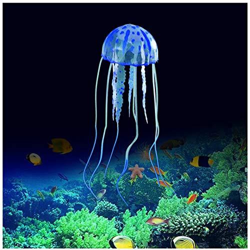 FuninCrea Decoraciones de Acuario de Medusas, Decoraciones de Resplandor de Medusas para Peceras, Decoraciones para Peceras Adecuadas para Muchas Peceras/Acuarios (Azul)