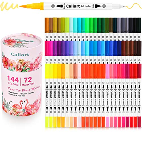 Markers for Adult Coloring, Caliart 72 Dual Brush Pens Art Markers, Artist Fine & Brush Tip, Note Taking Lettering Calligraphy Drawing Sketching Bullet Journaling Markers for Coloring Supplies