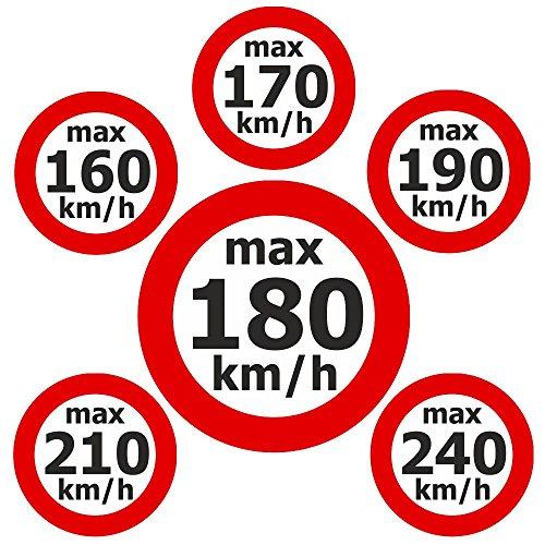 Adhesivo de velocidad máx. 160 – 240 km/h. Juego de 6 x 100 unidades.