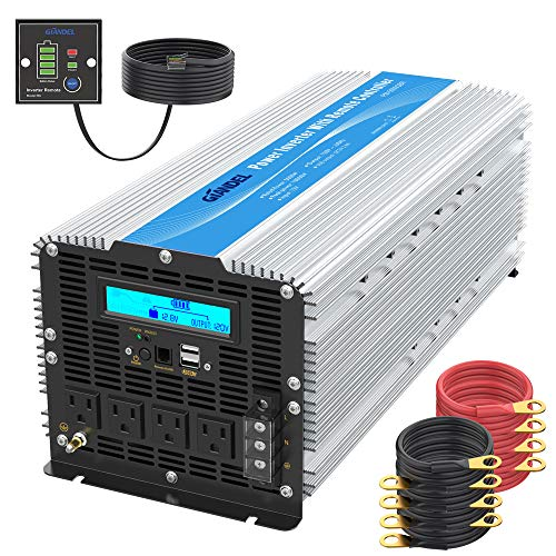 5000Watt Heavy Duty Modified Sine Wave Power Inverter DC 12volt to AC 120volt with LCD Display 4 AC Sockets Dual USB Ports & Remote Control for Truck RV and Emergency