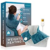 Weighted Heating Pad for Neck and Shoulders, Comfytemp 2.2lb Large Electric Heated Neck Shoulder Wrap for Pain Relief - 9 Heat Settings, 11 Auto-Off with Countdown, Stay on, Backlight - 19'x22'