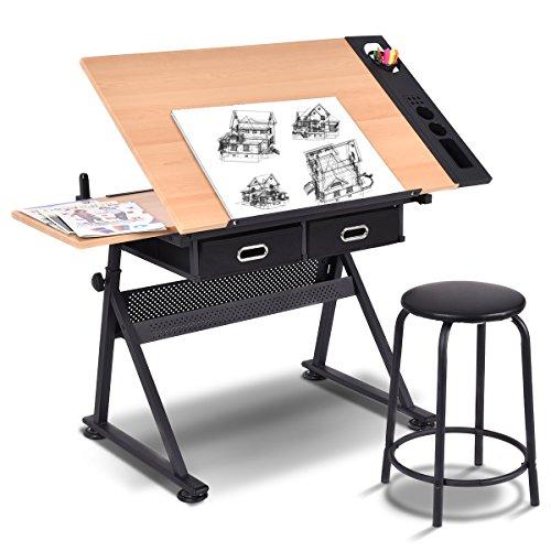 COSTWAY Zeichentisch höhenverstellbar Architektentisch Schreibtisch Schülerschreibtisch Bürotisch neigungsverstellbar mit Schubladen und Hocker