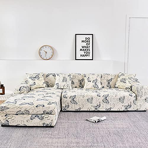WXQY La Forma de L Necesita Pedir una Funda de sofá de 2 Piezas, Funda de sillón de Toalla de sofá elástica, para sofá de Esquina para Proteger los Muebles A1 de 2 plazas