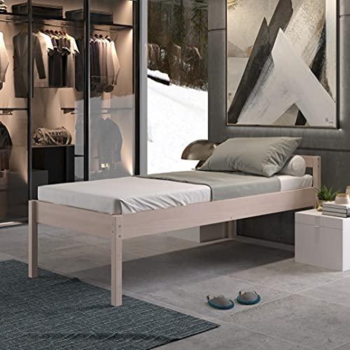 Seniorenbett 90x200 cm Triin Scandi Style aus hartem FSC Birken Massivholz - über 700 kg - Holzbett 55 cm hoch mit Kopfteil - Stabiles Einzelbett für Senioren