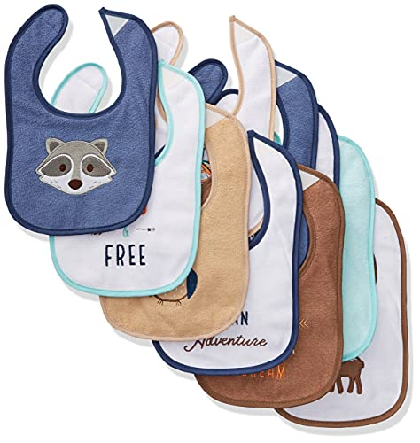 Hudson Baby Unisex Baby Cotton Terry Drooler Bibs with Fiber Filling, Raccoon, One Size