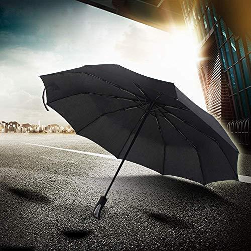 MJY Paraguas de moda Paraguas Hombres 'S Mujeres' S Paraguas plegable Medidas para la temporada de lluvias 190T 10 Huesos Tres pliegues Lluvia ligera y combinación de lluvia Paraguas repelente al agu
