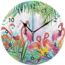 ChongXiFuShi Tropical Exotic Flamingo Bird Palm Tree Round Wood Wall Clock for Home Decor Living Room Kitchen Bedroom Office School