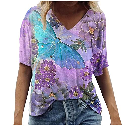 N\P Camiseta de mujer Casual Plus Size Round Neck T-Shirt Verano Casual