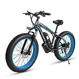 LUO 26 Pulgadas Fat Tire Bicicleta Eléctrica 1000 W 48 V Snow E-Bike Shimano 7 Velocidades Beach Cruiser Hombres Mujeres Mountain E-Bike Pedal Assist, Frenos de Disco Hidráulico de Batería de Litio,A