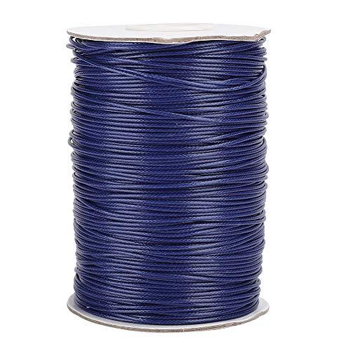 160m 1mm 蝋引き糸 ロウ引き糸 ワックスコード ワックスライン 手縫い糸 革 工具 用品 手芸縫製 DIY レザークラフト 編み用糸 初心者 練習 弾力性 多くの色 小型 (26#ネイビー)