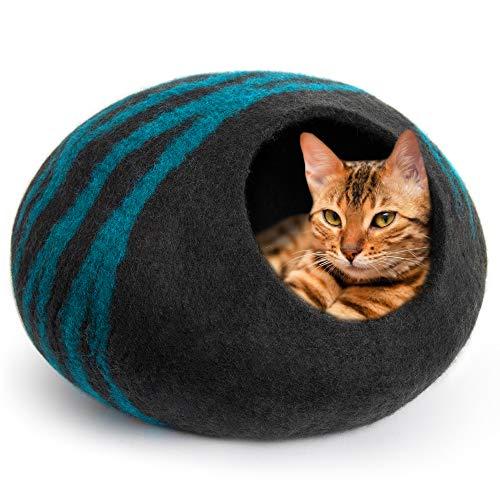 MEOWFIA Premium Katzenhöhle (groß) – umweltfreundlich 100{ffc24d0859e1c84d8161adab9f13db3cefd8f76caa5db95a30fdd0e508dc2c8f} Merinowolle Bett für Katzen und Kätzchen, Large, Asphalt/Aquamarin