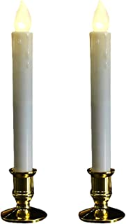 Ruiting Lámpara Velas LED Vela de Cuz con Soporte Gold Vela Simulación Vela sin Llama Lámpara de Mesa Decoración para Boda Día San Valentín 2pcs