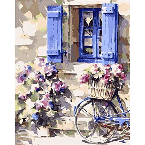 Diy pintura por números flor bicicleta lienzo kits de dibujo regalo decoración de pared pintado a mano regalo A13 50x70cm