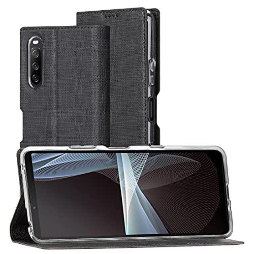 Foluu Handyhülle für Sony Xperia 10 III, dünne PU Leder Flip Handy Schutzhülle mit dem TPU-Stoßstange Kameraschutz Standfunktion Brieftasche Etui für Sony Xperia 10 III 2021 (Schwarz)