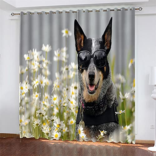 NQING Dog Series 3D Digital Printing Perforated Curtains, Black-Out And Noise-Reducing Polyester Curtains, Suitable For Bedroom, Living Room And Kitchen 2xW140xH180cm