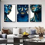 Pintura de labios sexy azul y dorada sobre lienzo, carteles e impresiones artísticos de maquillaje, imagen artística de pared para sala de estar, decoración de la pared del hogar, 40x60cmx3 sin marco