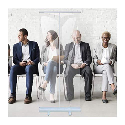 Enrolle la pancarta transparente, la pantalla de la protección de estornudos, la pantalla de distanciamiento social, la protección de escupituras, la pantalla de partición transparente del piso de pie
