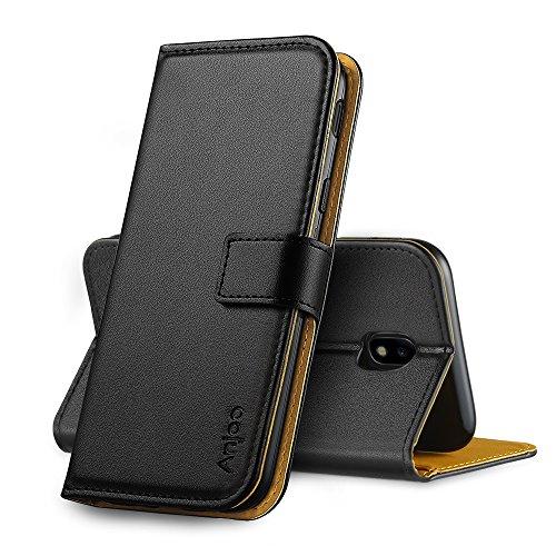 Anjoo Hülle Kompatibel für Samsung Galaxy J5 2017, Tasche Leder Flip Case Brieftasche Etui mit Kartenfach und Ständer Kompatibel für Samsung Galaxy J5 2017 - Schwarz