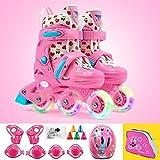 Patines Roller Skate niños Flash Juego de Ruedas Principiante Polea for la Muchacha del Muchacho ( Color : Set Pink , Shoe Size : M )