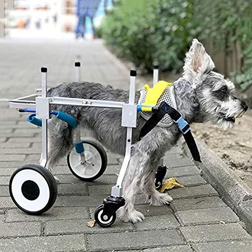 DHHVIC Allrad-Hunde-Rollstuhl, Einstellbarer Rehabilitationsroller, Langlebig Und Leichter Aluminium-Hunde-Rollstuhl, Haustier-Wanderverstärker,Xs widening