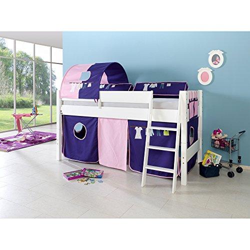 Relita Halbhohes Spielbett Kim Buche massiv, weiß lackiert mit Textil-Set