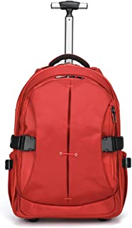 Nylon Waterproof Rolling Backpack, Travel Wheeled Backpack, Carry-On Luggage with Anti-Theft Zippers