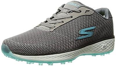 Skechers Performance Women's Go Golf Birdie Golf Shoe, Charcoal/Blue, 6.5 M US