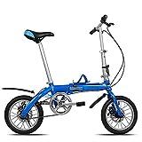 WHKJZ Bicicleta Plegable Marco Aluminio 14' Unisex Tamaño pequeño fácil Llevar Adecuado para Muchas Ocasiones Cojín del Asiento Diseño Ergonomico Reducir Presión Cadera,B