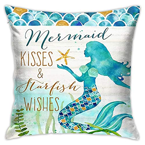 Mermaid Kisses and Starfish Wishes Pillow Cases Summer Beach Blue Decor Coastal Quote Cotton Linen Home Decorative Throw Pillow Case Cushion Cover for Sea Lover Sofa Couch (18' x 18')