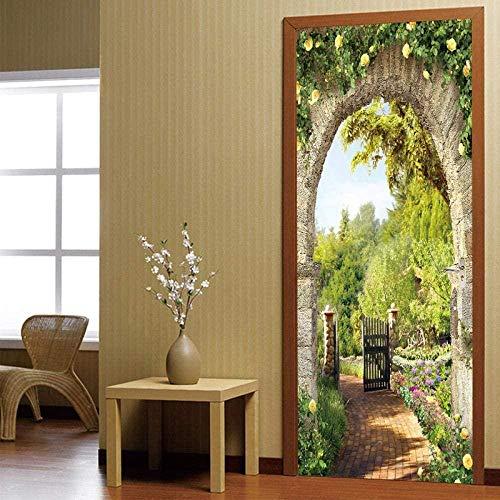 Adhesivo decorativo para puerta en 3D, diseño de jardín verde en casa, papel pintado autoadhesivo para puerta, póster de PVC para puerta, póster de pared, autoadhesivo, impermeable, 90 x 210 cm