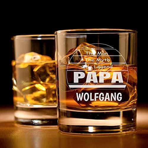 Personalisiertes Whisky-Glas mit Gravur für den Vater | Papa Geschenk | The Man - The Myth - The Papa | Whiskey-Glas mit Wunsch-Namen | Papa Geschenk für Männer | Hochwertiges Glas Geschenk-Idee