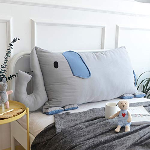 xdvdfvbdf Cartoon Headboard Backrest,Elephant Children's Room Large Bolster With Removable Cover,Cotton Soft Comfortable Reading Pillow-Grey elephant 110x60cm(43x24inch)