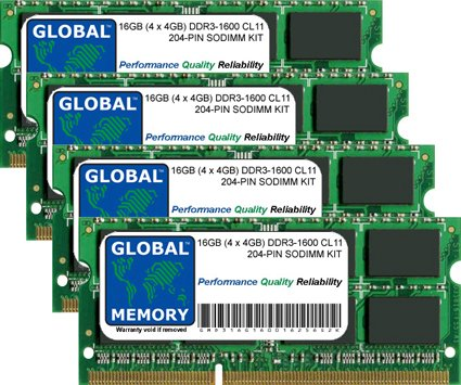16GB (4 x 4GB) DDR3 1600MHz PC3-12800 204-PIN SODIMM MEMORY RAM KIT FOR INTEL IMAC 27